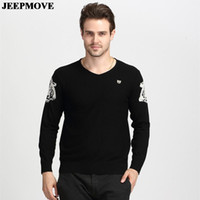 Wholesale Leopard Head Sweater - Wholesale-Autumn New men's casual wool V-neck long-sleeved sweaters fashion leopard head men's sweater wholesale 2 olours M~3XL MS4332