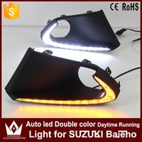Wholesale Auto Fog Lamp Suzuki - GuangDian New 1 Set Auto Fog Lamp Car LED Daytime Running Lights DC12V DRL With Yellow Turn Signals For SUZUKI Baleno 2016 2017