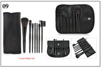 Wholesale Hair Color Chocolate - Professional 7pcs Makeup Brush Set Travel Cosmetic Tools Blush Eyeshadow Make Up Brushes Multi Color Cosmetic Brush With PU Bag Kabuki Brush