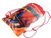 Wholesale Cartoon Character Shoes - 150pcs lot Free Shipping Spider Man shoe bag, shoe pouch, gift bag, drawstring bag schoolbag shoulder bag