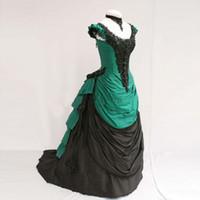 kalabalık topuklu önlük toptan satış-Özelleştirilmiş En Çok Satan Yeşil Ve Siyah Tafta Kısa Kollu Victorian Telaşı Abiye Kadın Cadılar Bayramı Kostümleri