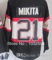 hokey mayo v toptan satış-2016 erkek Blackhawks # 21 Stan Mikita Nakış Çok Yama V Boyun Otantik Buz Hokeyi Jersey