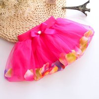 Wholesale Wholesale 12 Petal Skirt - Han edition skirts short skirt of the girls The us net petals bright pearl bowknot baby cake skirt free shipping