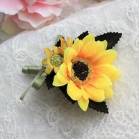 Wholesale Silk Flower Corsage Brooches - Hot Sale Groom Groomsman Boutonniere Sunflower Corsage Party Wedding Flower Silk Flowers Brooch Pin 4Pcs JM0184 salebags