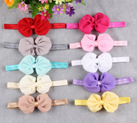 Wholesale Cheap Hair Bands Flowers - Cheap Hair accessories Bows wholesale Baby girl headbands Chiffon flowers European children Headband Sweet Infant Head bands 10colors mix