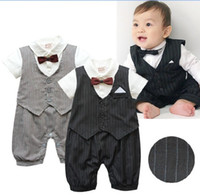 Wholesale Baby Boy Clothes Black Tie - Latest design baby clothes short sleeve summer babies one-piece romper infant boy's rompers toddler jumpersuits kids gentle outfits&ties