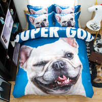 Wholesale Hd Cleaner - HD FRENCH BULLDOG Animal Bedding Set Blue Duvet Cover Bed Sheet Sets Double Queen King Size 4pcs Bedding