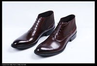 Wholesale Warm Tan - Fashion brown tan  black cotton lining warm mens ankle boots winter dress shoes genuine leather business shoe office boots