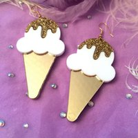 Wholesale Acrylic Cream - Summer Fashion Night Club Jewelry Accessories Personality Punk Acrylic Ice Cream Drop Earrings For Women Hip Hop