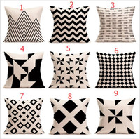 Wholesale Knitted Cushion Cover For Beds - halloween Christmas black white pillowcase geometry Cushion covers Cotton linen pillow cover for Sofa bed Nordic Throw Pillow case