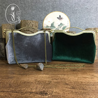 Wholesale Quality Imitation Handbags - Top Quality Party Handbags Velvet Gray,Dark Green Stunning Wedding Bridal Handbags Wedding Accessories 2017 New Arrival Fall Winter