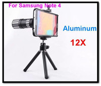 alüminyum nota telefon çantası toptan satış-Toptan-Metal 12x Optik Telefoto Lens Cep Telefonu Alüminyum Teleskop Kamera Lens Tripod Case Samsung Galaxy Note 4 için