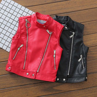 Wholesale Wholesale Faux Leather Clothing - Autumn Winter New zipper Pu leather Children Waistcoat boys girls Warm Vests Kids Waistcoat Toddler Outwear coat Child Clothing A1133