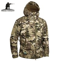 Wholesale Tactical Vest Woodland - Mege Brand Camouflage Military Men Hooded Jacket, Sharkskin Softshell US Army Tactical Coat, Multicamo, Woodland, A-TACS, AT-FG