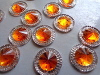 Wholesale Orange Sew Stones - 100pcs 16mm round flatback orange silver Crystals sew on Rhinestones Accessories For Hand Sewing gem stone