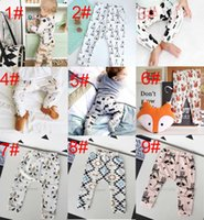 Wholesale straight figure resale online - Free DHL Design kids INS pp pants fashion baby toddlers boy s girl s animal fox panda wheels geometric figure pants trousers Leggings