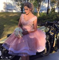 Wholesale Short Flower Skirt Bridesmaids Dresses - Blush Pink Lace Tulle Short Beach Party Bridesmaid Dresses 2017 Tea Length 3D Floral V-neck Tiered Skirt Maid of Honor Wedding Guest Dress
