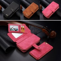 Pour iphone 6 6s Plus Retro détachables Multifunction Wallet Leather Cover Téléphone Shell avec carte Slots Pouch Zipper Purse Bag Gel
