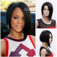 Wholesale China Synthetic Wigs - W3800 Woman Synthetic Hair Short Straight Black Wigs Conventional Wig Simulation High Grade China Wig Supplier