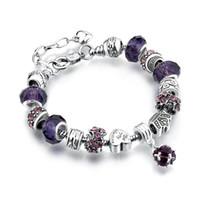 fábrica diy charms venda por atacado-Tibetano prata Fina Pandora Frisado Pulseira de Strands Grande Cristal De Vidro Encantos Beads DIY Pulseira 13 Cores Opcional Fábrica Por Atacado