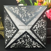 Wholesale Christmas Laser Cut Greeting Cards - 50pcs Personalized Laser Cut Wedding Invitations Cards Wedding Decoration Rsvp Cards Birthday Greeting Cards