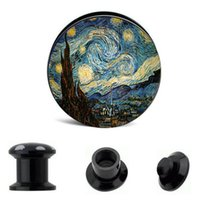 Bouchons D'oreille À Visser Pas Cher-Vis Fit Plugs Acrylique Edward Munch Art Der Schrei Oreille Gauge Plug Et Tunnel Ear Stretcher Expander
