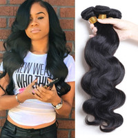 Wholesale Cheap 28 Inch Hair - Peruvian Indian Malaysian Cambodian Brazilian Body Wave Hair Weave Bundles Cheap Brazillian Human Hair Extensions 3 4 5 Pcs Natural Color 1B