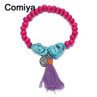 Wholesale Purple Copper Turquoise Bracelet - Wholesale-Comiya hot selling ethnic fashion purple tassel rose red wooden beads Turquoise bracelets & bangles accessories for women