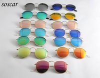 Wholesale Round Style Glasses For Men - Round Metal Sunglasses Retro Style Sunglasses for Men Women Soscar Brand Designer Sunglasses Flash Mirror Lenses 50mm with Leather Box