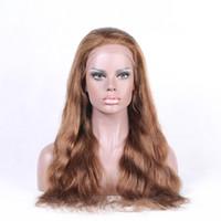 Wholesale Colorful Curly Natural Hair - Virgin Wavy Human Hair Wigs Medium Brown Swiss Lace Big Curly Full Lace Wig and Colorful Lace Front Wig for Cheap LX015
