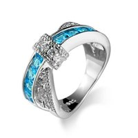 Wholesale Light Blue Stone Jewelry - Light Blue Cross Ring Fashion White Gold Filled Zircon Jewelry Vintage Wedding Rings For Women Birthday Stone Gifts