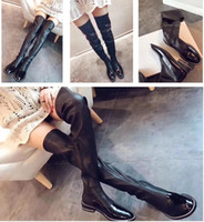 Wholesale Designer High Low - 2017 Luxury Brand Original Box Leather Thigh High Boots Woman Low Heel Comfortable Over The Knee Slip On Boots Lady Fashion Designer Shoes
