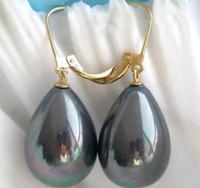 14k pendientes de perlas negras al por mayor-ELEGANTE NEGRO South Sea Shell Pearl 14K amarillo Pendiente de oro