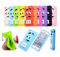 Wholesale I Phone 3d Cover - Cheap For I phone6 Case 3D Cartoon Cute Girl and Boy M&M's Chocolate Candy Color Rainbow Bean Soft Silicone Case Cover For many phones DHL