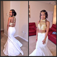 Wholesale rachel allan mermaid prom dresses resale online - White Gold Mermaid Prom Dresses High Neck Crystal Beaded Satin Backless Two Pieces Homecoming Dresses Rachel Allan Party Gowns