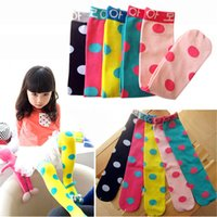 Wholesale Baby Girl Stockings Tights - Cotton Girls Stocking Princess High Socks Candy Color Dot Baby Knee Baby Footwear Tight Legging Socks Socks Kids Chevron Leg Warmer B521