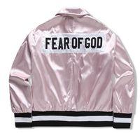 Wholesale Pink Baseball Jackets - FEAR OF GOD kanye west high quality Embroidery jacket men women MA-1 flight motorcycle baseball jacket yeezus hip hop jacket