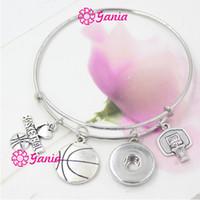 Wholesale Bracelet Basketball - New Fashion Interchangeable Jewelry Sport Basketball Adjustable 18mm Snap Bangles Bracelets women Jewelry Sport Lover Gift