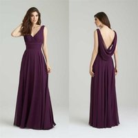 Wholesale Cowl Back Bridesmaid Dresses - 2017 sexy cowl backs bridesmaid dresses Sleeveless V-neck Exquisite purple A-line Floor-length prom dresses vestidos de fiesta
