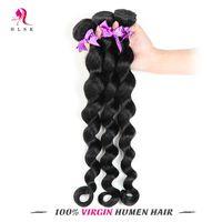 Wholesale hair jet black 26 inches for sale - Brazilian Loose Wave Jet Black Virgin Remy Hair Bundles Water Weaver B Brazilian Loose Hair Double Weft