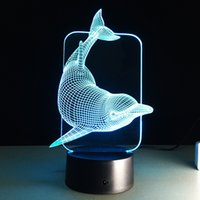 Dolphin 3D Illusion LED Lamp 3D Night Light RGB colorida luz DC 5V USB alimentado bateria AA Atacado Dropshipping Gift Box