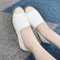asakuchi ayakkabıları toptan satış-2016 düşük ayakkabı eğlence ayakkabı Asakuchi yardım yuvarlak saman ayakkabı moda bayan ayakkabı beyaz ayakkabı gelgit