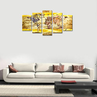 Wholesale Metal Art Wall Panel - 5 Pieces Canvas Wall Art Prints Metal Gears or Machine Parts Abstract World Map the Picture Prints on Canvas for Modern Home Decor Framed