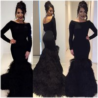 Wholesale Long Satin Fitted Dress - 2018 Black Long Sleeves Feather Evening Gowns Sexy Fitted Scoop Neck Custom Made Women Specail Ocasion Formal Gowns