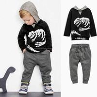 Wholesale Dinosaur Tracksuit - Spring Autumn Boys Set Baby Kids Sets Dinosaur Skull Hooded Long Sleeve Tops Sweatshirt + Pants 2pcs Tracksuit Children Outfits