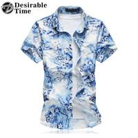 Wholesale Hawaiian Shorts - Wholesale- 2017 Summer Style Mens Short Sleeve Shirts Big Sizes 6XL 7XL Shiny Gold Mens Hawaiian Floral Shirt DT483