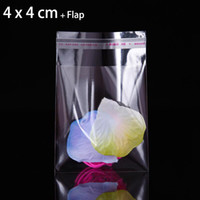 Wholesale Small Plastic Seal Bags - 200pcs mini 4 x 4cm CLEAR SMALL PLASTIC BAG FOR JEWELRY PACKAGE SELF SEALING RESEALABLE MINI GIFT PACKAGING BAGS RING PACKING POUCHES