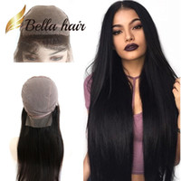 Wholesale 1b Straight Wigs - Silk Top Full Lace Wigs Indian Human Hair 8~24inch Silky Straight Natural Color #1B High Quality Silk Base 4*4 Hair Wigs BellaHair Outlets