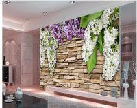 Wholesale Peach Flower Wallpaper - customized wallpaper for walls Stone wall flower peach lilac flower painting background wallpaper 3d wallpaper for room
