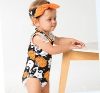 Wholesale Halloween Ghost Headbands - Halloween Costume Halloween Rompers Sets Lace Sleeveless Orange Pumpkin Ghost Costumes Newborn Onesies Headband Sets Baby Romper Outfit
